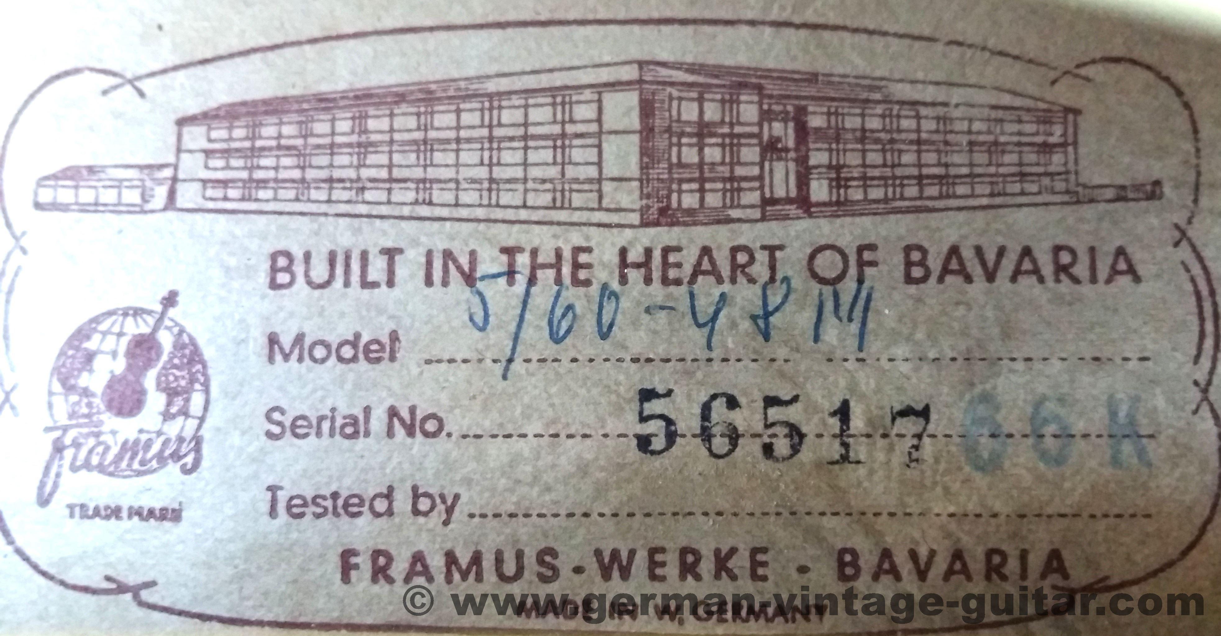 Framus Missouri 5 60 Thinline 1966