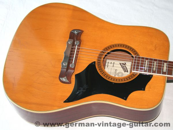 6-saitige Dreadnought Westerngitarre Klira Red Canyon von 1973