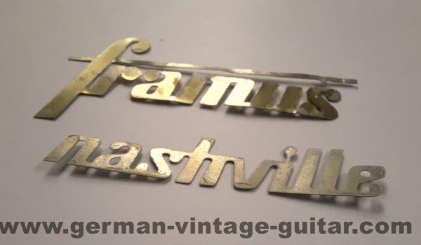 Framus Nashville Metall-Schriftzug, siebziger Jahre