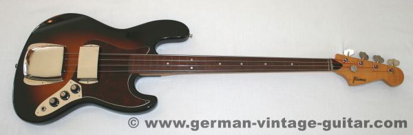 Framus 12700 S-380 Jazz Bass, 1973, fretless
