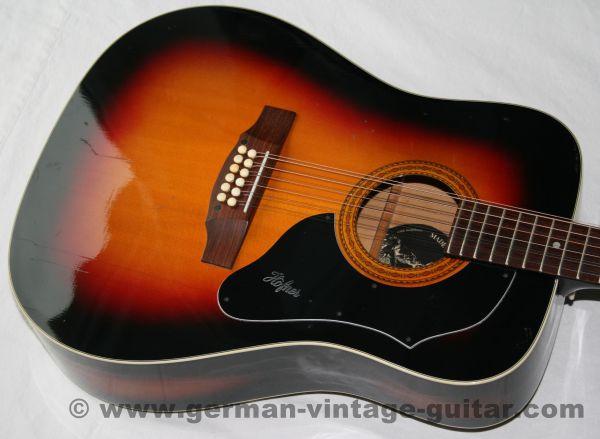 12-saitige Westerngitarre Höfner 490 G von 1973, sunburst